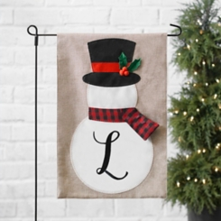 Tan Monogram L Snowman with Scarf Flag Set