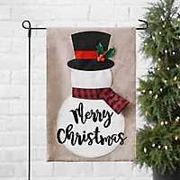 Tan Merry Christmas Snowman with Scarf Flag Set