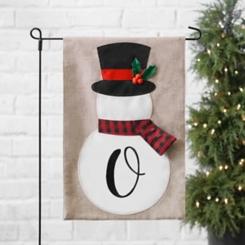 Tan Monogram O Snowman with Scarf Flag Set