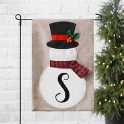 Tan Monogram S Snowman with Scarf Flag Set
