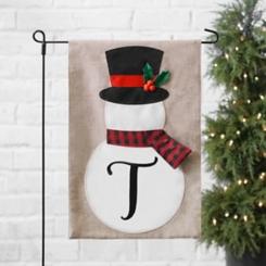 Tan Monogram T Snowman with Scarf Flag Set