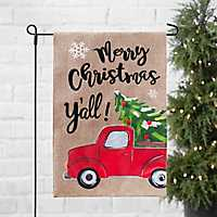 Merry Christmas Y'all Red Truck Flag Set