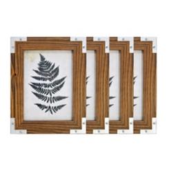 Metal Corner Espresso 5x7 Picture Frames, Set of 4
