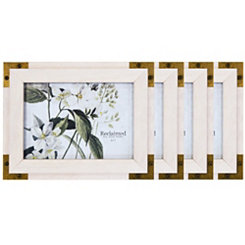Metal Corner White 5x7 Picture Frames, Set of 4