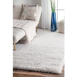White Iliza Shag Area Rug, 5x8