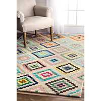 Multicolor Aztec Diamond Area Rug, 5x8