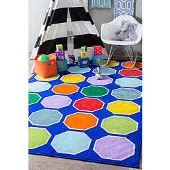 Primary Color Hexagon Area Rug, 5x8