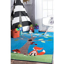 Friendly Fox Tree Area Rug, 5x8