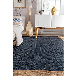 Navy & Natural Trim Jute Area Rug, 5x8