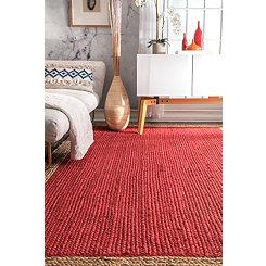 Red & Natural Trim Jute Area Rug, 5x8