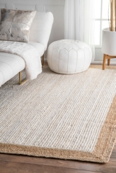 White and Natural Corsica Area Rug, 5x8