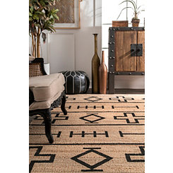 Aztec Swiss Cross Jute Area Rug, 5x8