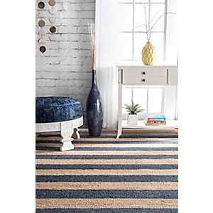 Blue and Natural Stripe Area Rug, 5x8