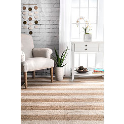 White Stripe Jute Area Rug, 5x8