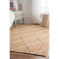 White Diamond Jute Area Rug, 5x8