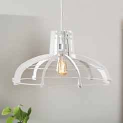 White Geometric Edge Pendant Light