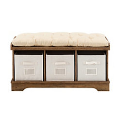 Wood Storage Bench with Totes