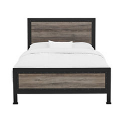 Industrial Wood with Metal Frame Queen Bed