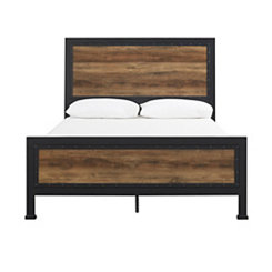 Industrial Rustic Oak with Metal Frame Queen Bed