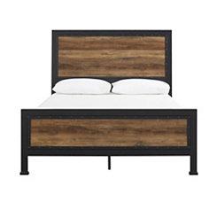 Industrial Rustic Oak with Metal Frame Queen Bed