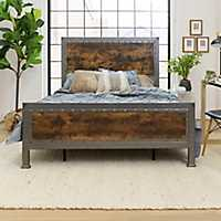 Industrial Brown Wood Queen Bed with Metal Frame