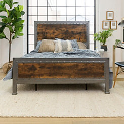 Industrial Brown Wood with Metal Frame Queen Bed