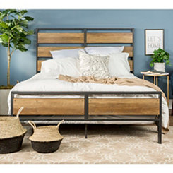Rustic Oak Plank and Metal Frame Queen Bed