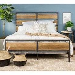 Rustic Oak Plank and Metal Frame Queen Bed