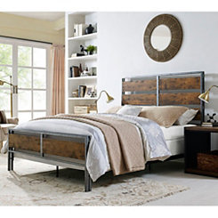 Brown Wood Plank and Metal Frame Queen Bed