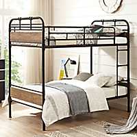 Rustic Metal and Wood Twin Bunk Bed