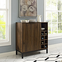 Dark Walnut with Wine Storage Bar Cabinet