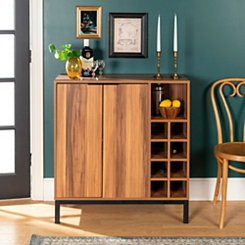 Teak Wood with Wine Storage Bar Cabinet