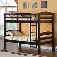 Solid Espresso Wood Twin Bunk Bed