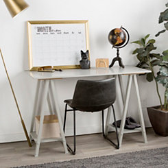 Sawhorse Gray Wood Desk with Shelves