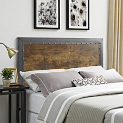 Industrial Wood and Metal Panel Queen Headboard