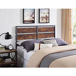 Metal and Wood Plank Queen Headboard