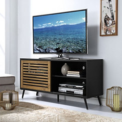 Black Barnwood with Sliding Door Media Console