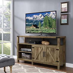 Highboy Natural Barn Door Media Cabinet