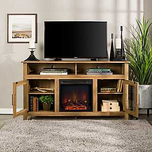 Rustic Oak Media Console and Electric Fireplace