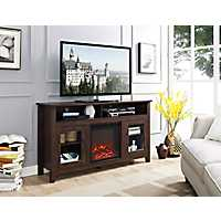 Brown Media Console and Electric Fireplace