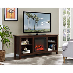 Warm Brown Media Console and Electric Fireplace