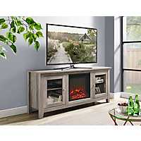 Gray 2-Door Media Console and Electric Fireplace