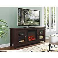 Light Brown Media Console and Electric Fireplace