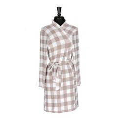 Gray and White Gingham Suede Women's Robe, L/XL