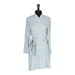 White Dotted Mint Suede Women's Robe, S/M