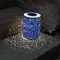 Blue Hand-Punched Elephant Solar Lantern