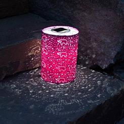 Raspberry Hand-Punched Elephant Solar Lantern