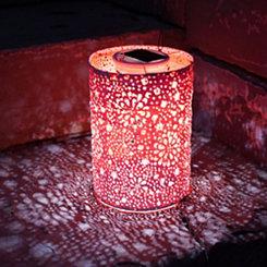 Orange Hand-Punched Floral Solar Lantern