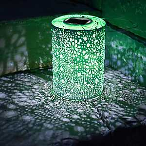 Green Hand-Punched Floral Solar Lantern