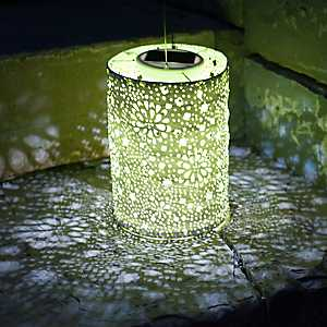 Yellow Hand-Punched Floral Solar Lantern